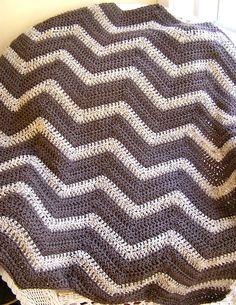 chevron zig zag baby blanket afghan wrap crochet lap robe wheelchair ripple stripes lion brand VANNA WHITE yarn oatmeal brown USA.  via Etsy.