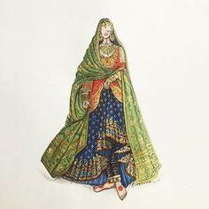 Dress Design Sketches, Fashion Design Drawings, Fashion Sketches, Fashion Illustration Dresses, Fashion Illustrations, Lehenga, Sarees, Indian Fashion, Fashion Art