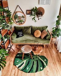 """Plantways (@plantways) posted on Instagram: """"Home is not a place it's a feeling Do you love Plant Decor 💚 Let's Explore Plants 🌱 @Plantways Credit: @hesti.novitadewi #instaplants…"""" • May 2, 2021 at 6:54pm UTC Bohemian Interior, Bohemian Decor, Green Theme, Green Colors, Jungles, Room Decor Bedroom, Home Decor Inspiration, Plant Decor, Entryway Decor"""