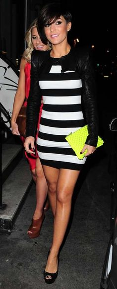 Frankie Sandford is definitely a Shout style icon! We love her signature skinny-jeans-and-blazer outfits, but she looks amazing in this stripy dress!