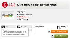 3GB Klarmobil Allnet Flat für 11,99€ http://www.simdealz.de/vodafone/klarmobil-allnet-flat-3000/