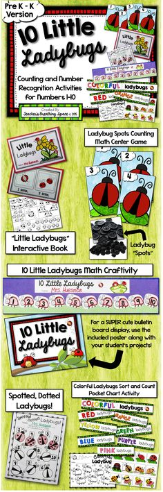 10 Little Ladybugs --- Five Fun Math Centers for the Numbers 1-10.