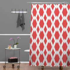 Custom Colors Shower Curtain Chevron Coral Taupe Red Beige