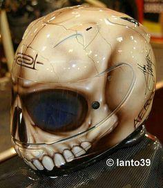 Skull Helmet, possible next purchase for the bike this Spring/Summer. Custom Motorcycle Helmets, Custom Helmets, Motorcycle Gear, Custom Bikes, Biker Helmets, Skull Helmet, Helmet Head, Helmet Paint, Biker Gear