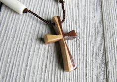 Half Walnut Half Maple Hand Carved Cross Necklace w/ bone beads by The Lotus Shop, $12.95