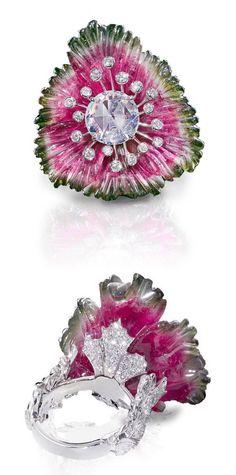 Diamond Rings : Carved Watermelon Tourmaline and Diamond Ring by Leviev. - Buy Me Diamond Body Jewelry Shop, Gems Jewelry, Pandora Jewelry, Jewelry Stores, Gold Jewellery, Modern Jewelry, Unique Jewelry, Fine Jewelry, Jewelry Design