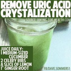 Are you aware that cucumber juice helps bring down body temperature, is highly alkalizing and effective for removing uric acid crystallization in joints, like with gout. There may be a slight pain when drinking this juice (a sign of healing) it is t...