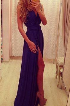 Purple V-neck Sleeveless Maxi Party Dress