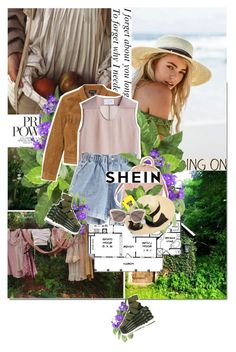 """Elastic Waist Rolled Hem Denim Shorts - Shein"" by tomato-juice ❤ liked on Polyvore featuring Nearly Natural, Monki, Bruno Pieters, Love Moschino, Casetify, Melissa Odabash, Salvatore Ferragamo and Miu Miu"