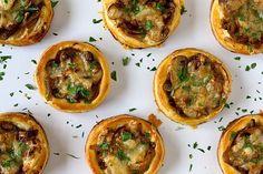 Mushroom, caramelised onion and gruyere tartlets