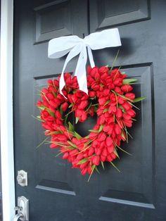 Red Tulip Heart Wreath Valentine's Day Wreath I by ElegantWreath