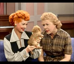 """Lucille Ball, Vivian Vance & Puppy """"Fred"""" - I Love Lucy I Love Lucy Show, My Love, William Frawley, Lucy And Ricky, Lucy Lucy, Vivian Vance, Queens Of Comedy, Lucille Ball Desi Arnaz, Hallowen Costume"""