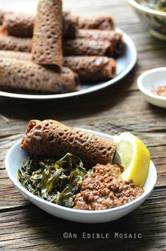 An Ethiopian Feast: Ground Beef Stew, Collard Greens, and Teff Flatbread (Minchet Abish, Ye'basha Gomen, and Ingera) // @AnEdibleMosaic
