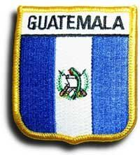 """Guatemala - Country Shield Patch by flagline. $2.75. 2.5"""" x 2.75"""" Shield Patch. Our shield patches feature each country's flag below the name, and can be sewn on or ironed on. Actual size is approximately 2.5"""" x 2.75""""."""