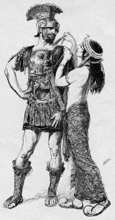 KUSADASI TOEN!!! A nice illustration to Shakespeares Antonius and Cleopatra by the American artist Edwin Austin Abbey (1852-1911)