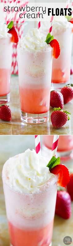 Root beer floats - move aside! These Strawberry Cream Floats are sweet and creamy and irresistible and perfect for a warm day.: