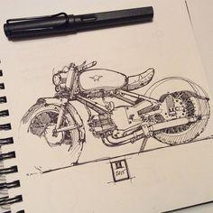 New bike drawing pens Ideas Motorcycle Art, Motorcycle Design, Bike Art, Bike Sketch, Pen Sketch, Car Drawings, Drawing Sketches, Sketching, Bike Drawing