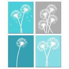 Dandelion Floral Art Quad - Set of Four Coordinating 8x10 Prints - Choose Your Colors - Shown in Aqua, Blue, Gray, Purple, Brown, and More on Etsy, $65.00