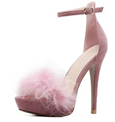 Shop Pink Feather Embellished Ankle Strap Stiletto Velvet Sandals at victoriaswing, personal womens clothing online store! high quality, cheap and big discount, latest fashional style!