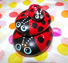 Hand Painted Bugs Rocks | Precious Hand Painted Ladybug Family Garden Rocks