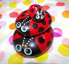 Hand Painted Bugs Rocks | Precious Hand Painted Ladybug Family Garden Rocks