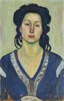 Ferdinand Hodler (Swiss 1853-1918) and Jeanne Charles Cerani (Yugoslavia 1874-1955), Portrait of Jeanne Charles Cerani, oil/canvas, 1910. According to the Oeuvre catalogue, stylistic considerations have lead to the conclusion that this is a collaborative piece of art made by Ferdinand Hodler and Jeanne Charles Cerani. Sold at auction through Christies, 2004.