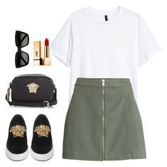 """""""Untitled #2299"""" by street-style-98 ❤ liked on Polyvore featuring Versace and Yves Saint Laurent"""
