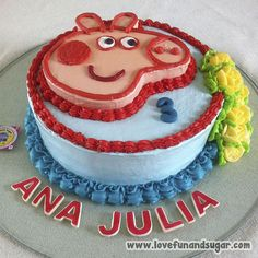 Torta de Peppa Pig: ANA JULIA. Love, Fun and Sugar. #torta #tortas #peppapig #peppa #peppalacerdita‬ #lovefunandsugar #yummy #ñomi #dessert  #dulces #postres #bake #baking #cook #cooking #cake #cakes #pastries #pasteleria #patisserie #cocina #sugar #sweet #delicious Link-> http://www.lovefunandsugar.com/2016/02/torta-de-peppa-pig-ana-julia_15.html