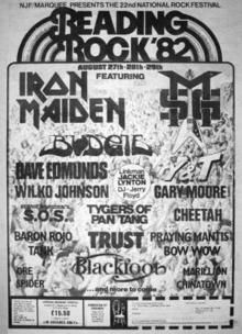 Wow, Reading Festival 1982 - Iron Maiden and. Tour Posters, Band Posters, Music Posters, Event Posters, Hard Rock, Wilko Johnson, 80s Rock Bands, Rush Band, Rock Album Covers