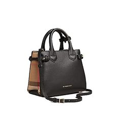 601cc080cc9 Tote Bag Handbag Authentic Burberry The Baby Banner in Leather and House  Check Black Item 2,234.00