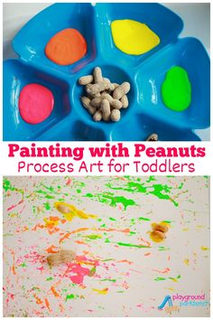 Part a complete Peanut Unit Study for Kids, this Process Art activity is perfect for toddlers and preschoolers.  Use both fine motor skills and gross motor skills to create fun paintings with peanuts