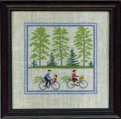 Scandinavian Stitches bicycle cross stitch  #embroidery by the Danish Handcraft Guild -Designed by Gerda Bengtsson