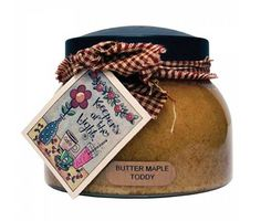 Butter Maple Toddy Keepers of the Light Mama Jar Candle, by A Cheerful Giver.  Fragrance:  sweet maple syrup, buttered rum, warm vanilla and cinnamon.  Country tan color.  Mama size candle, 22 oz.  Special order.