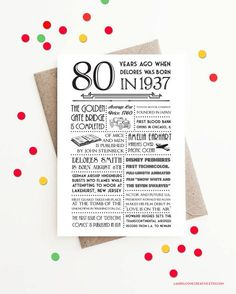 Important: This listing is for 80th Birthdays in 2017 - *BORN IN 1937* only! A fun, personalized 5x7 white folded greeting card. Includes events, headlines, facts and more from 1937, as well as your recipients name & actual birth date!  • High-quality folded 5x7 greeting card; blank inside. • Brown kraft or white envelope  ************ PLEASE FOLLOW THESE STEPS TO ORDER!  1. Add item to cart & proceed to checkout 2. In Note to Seller on checkout page include:  • NAME OF BIRTHDAY BOY&#...