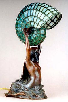 Nautilus Table Lamp, Tiffany Studios, c1895 Tiffany contracted with Louis Guderbrod, the famous American Art Nouveau sculptor, to produce a limited production lamp base of a mermaid holding a lighted nautilus shell