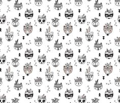 Cool scandinavian geometric woodland animals indian summer zoo black and white fabric by littlesmilemakers on Spoonflower - custom fabric