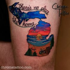 "Michigan tattoo, ""there's no place like home."" Artist: Kadee Spangler Shop: Chroma Tattoos, West Bloomfield, MI  http://chromatattoo.com/kadee-spangler.html"