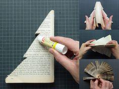 Een oud boek omtoveren tot kerstboom. Leuk als tafeldecoratie? #greenxmas