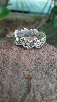 Marcasite 925 sterling silver rings handmade round leaf pattern Size 8 #Unbranded #Band