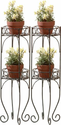 2 TWO ROUND 2 TIER WROUGHT IRON PLANT STANDS
