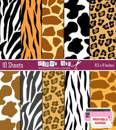 50% OFF SALE Animal Print digital paper Wild animal print