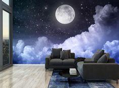 Night Sky Moon Blue Clouds Stars Wall Mural Photo Wallpaper GIANT WALL DECOR | eBay