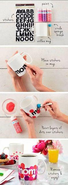 DIY Tazas pintadas! Regalos para el Día de la Madre!