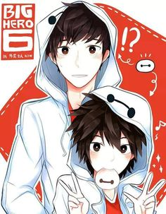 Hiro and Tadashi in Baymax hoddie's. I WANT THAT BAYMAX HOODIE SO MUCH!!!< Well, I want the owner... The older one if I can choose