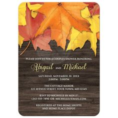 Couples Shower Invitations - Rustic Autumn Leaves on Wood