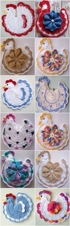 """Crochet Chicken Potholder """"Crochet Chicken Potholder Video Pattern - these are so cute!"""", """"Crochet Chicken Potholder Search under crochet tab for many m Crochet Potholder Patterns, Crochet Dishcloths, Crochet Doilies, Crochet Flowers, Crochet Gifts, Easy Crochet, Free Crochet, Knit Crochet, Pinterest Crochet"""