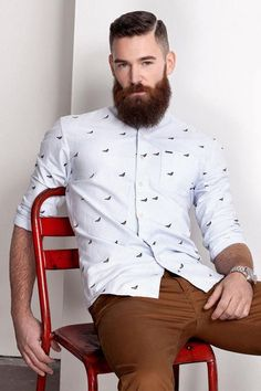White Printed Shirt + Brown Chinos + Beard = Totally killing it