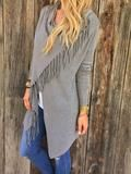 This incredibly soft cardigan is lightweight and perfect for any time of year! Asymmetrical hem with fringe. Long sleeves. Unlined.  55% Nylon | 25% Viscose | 20% Modal Hand wash cold Model is wearing sizeSmall   *Beware of scam companies such as RoseGal, CupShe, DressLily & SammyDress, that are illegally using our photo! They replicate the item in China and are NOT selling the same sweater. We are currently working with our lawyers to stop this*