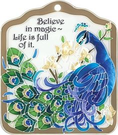 """Joan Baker Peacock Decorative Hand Painted Hanging Tile 6"""" x 7"""""""