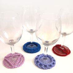 crochet wine glass coasters